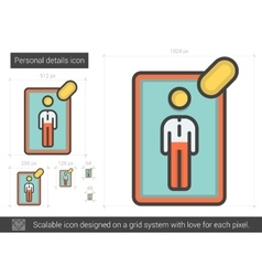 Personal details line icon vector
