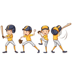 Players of the yellow team vector image