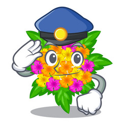 Police lantana flowers in the mascot pots vector