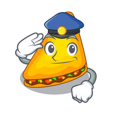 police quesadilla with chicken and sauce cartoon vector image