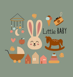 Poster with bohemian little baby elements vector