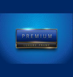premium blue green label with golden frame vector image