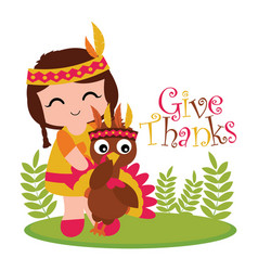 Print cartoon with cute indian girl and turkey on vector
