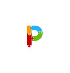 Puzzle letter p logo icon design vector