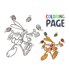 rabbit and egg cartoon coloring page vector image
