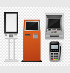 Realistic payment terminal atm and self-ordering vector