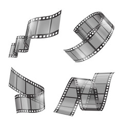 Realistic set of film strip movie tapes vector