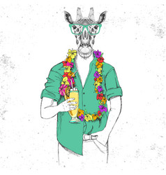 Retro hipster animal giraffe with tropic cocktail vector