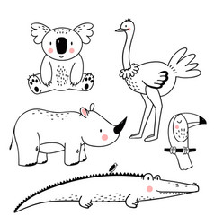 safari animals set vector image