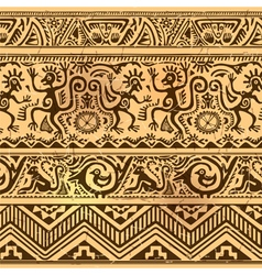 Seamless pattern of African primitive art old vector