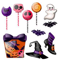 Set bright candies on stick lollipop witch vector