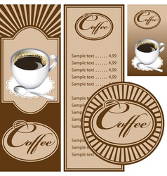 Set for the cafe menu business card and coasters vector