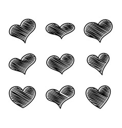 set of nine black scribble hearts vector image