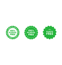 Set plastic free green certificate emblems eco vector