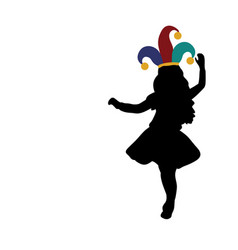 silhouette girl happy april 1 day fools day vector image