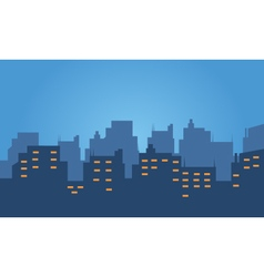 Silhouette of hotel at night vector image