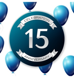 Silver number fifteen years anniversary vector