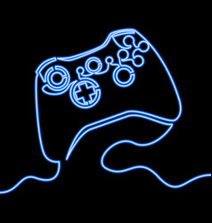 Single continuous line neon icon of blue joystick vector