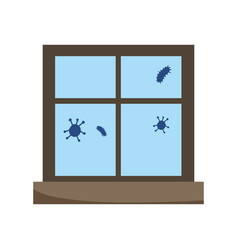Stay at home window covid 19 disease isolated icon vector