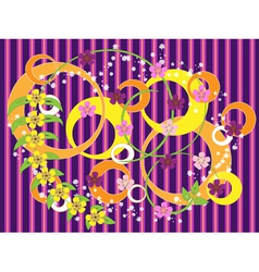 Striped purple background with flowers vector image