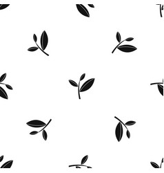 tea leaf sprout pattern seamless black vector image