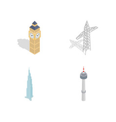 tower icon set isometric style vector image