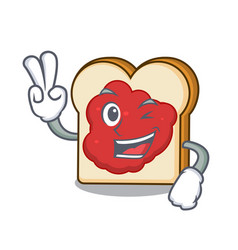 two finger bread with jam character cartoon vector image
