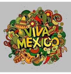 Viva Mexico sketchy outline festive background vector