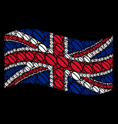 waving uk flag pattern of wheat seed icons vector image