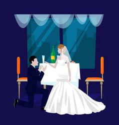 Wedding restaurant banquet hall cartoon vector