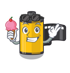 With ice cream camera roll isolated with the vector