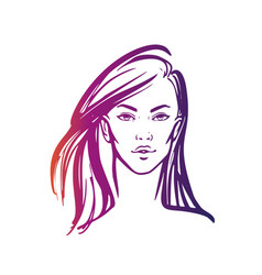 Women long hair style icon logo women on white vector