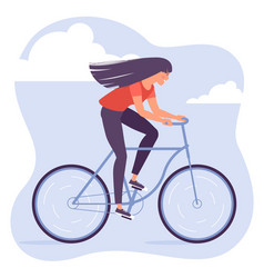 young woman riding bicycle vector image