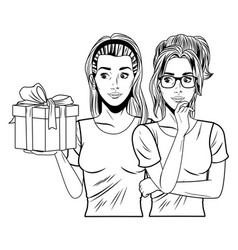 Young women with a gift box in black and white vector