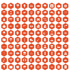 100 thunderstorm icons hexagon orange vector