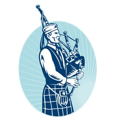 bagpiper playing scottish bagpipes vector image vector image