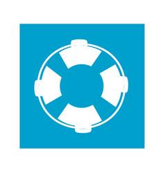 Blue square frame with flotation hoop vector