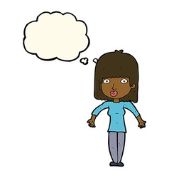 cartoon woman shrugging with thought bubble vector image