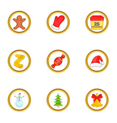 Christmas party icons set cartoon style vector