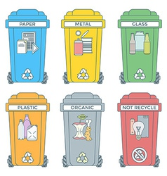 colored outline separated garbage bins icons vector image