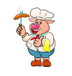 cook prepares delicious barbecue sausages vector image