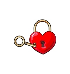 Heart shaped padlock and key for love lock unity vector image vector image