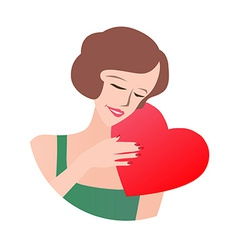 Loving woman holding heart vector