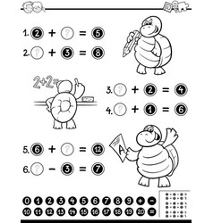 mathematical worksheet coloring book vector image vector image