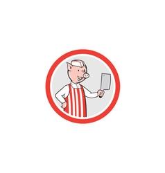 Pig Butcher Holding Knife Cartoon vector image