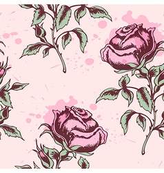 vintage floral seamless pattern with pink roses vector image vector image