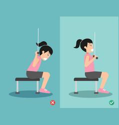 Woman wrong and right lat pulldown posture vector