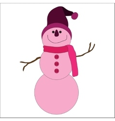 Cute pink snowman on white background vector image vector image