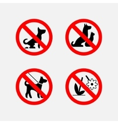 icon signs prohibiting animals plants fully vector image vector image