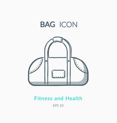 sports bag icon on white background vector image vector image